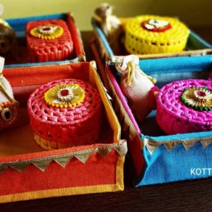Jute Tray Hamper With Box and Potli